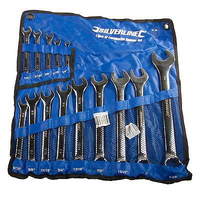 """Silverline Imperial/AF/English/SAE Combination Spanner Set 1/4"""" to 1 1/4"""" 14 Pce"""