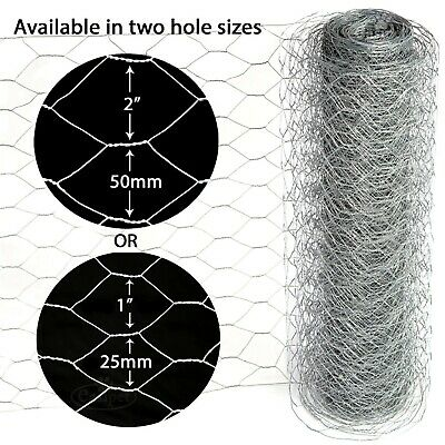 Galvanised Wire Mesh Fencing Chicken Netting Rabbit Fence Hutch Coop 25m 50m