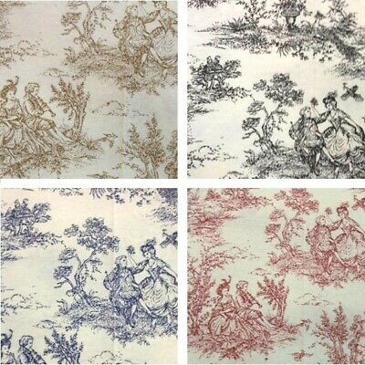 Sale Cotton Rich Linen Look Upholstery Fabric Toile Victorian Days Vintage