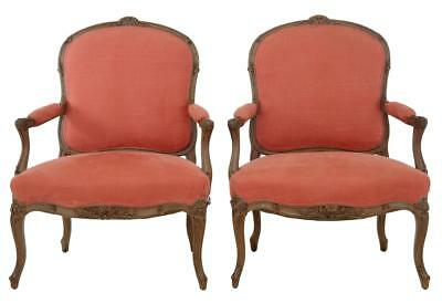 Pair Of 19Th Century Carved French Walnut Armchairs
