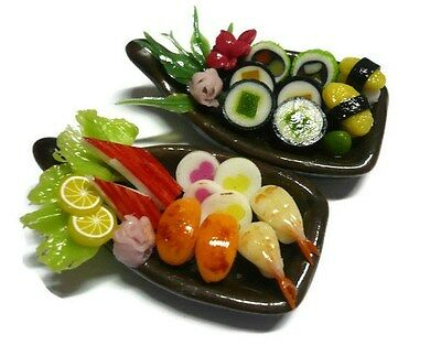 2 Sushi Bento Japanese Food Dollhouse Miniatures Food Supply Boat Deco -4
