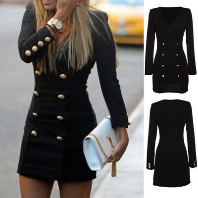Women Long Sleeve Bodycon Clubwear Party Slim Cocktail Mini Pencil Dress New u