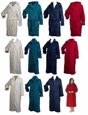 Slenderella Ladies Soft Waffle Fleece Dressing Gown Button Zip Wrap Bath Robe