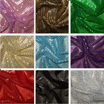 3mm Sequin Jersey Shiny Sparkly Nylon Fabric Fancy Dress Metallic Costume
