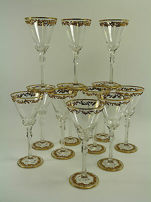 BOHEMIAN Crystal - Set of 12 Antique Gilded WINE GLASSES - Moser Type Enamelling