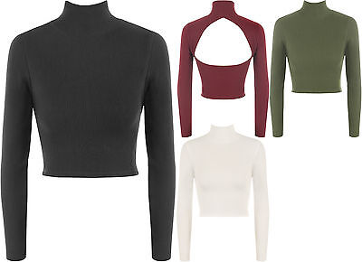 Womens Long Sleeve Knitted Ribbed Short Open Back Turtle Neck Ladies Crop Top