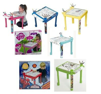 Kids Colouring Drawing Table Desk Paper Crayons Children Furniture Disney New