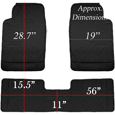3pcs Black Heavy Duty All Weather Rubber Floor Mats Universal Car Truck SUV