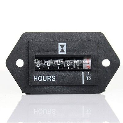 Black Electromechanical Hour Meter Counter with 6 Digit Display 0.3W AC100-250V
