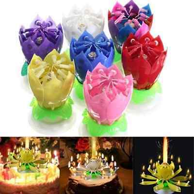 1X Romantic Musical Lotus Flower Rotating Happy Birthday Party Candle Light Gift
