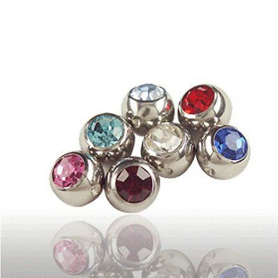 Titanium Piercing Captive ball ring with crystal in 3mm many colors