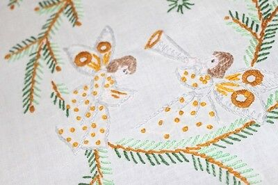 Christmas Symphony Of Angels! Vtg Hand Embroidered Larger Tablecloth Music Drums