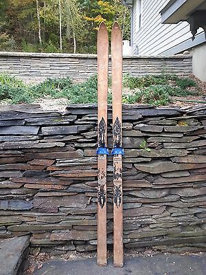 "VINTAGE  Wooden 74"" Skis  GREAT DECORATION with Lots of Interesting Character"