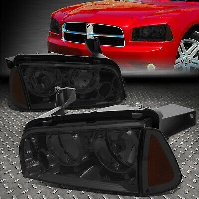 For 2006-2010 Dodge Charger Pair Smoked Houisng Headlight+Amber Turn Signal Lamp