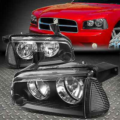 For 2006-2010 Dodge Charger Pair Black Houisng Headlight+Clear Turn Signal Lamp