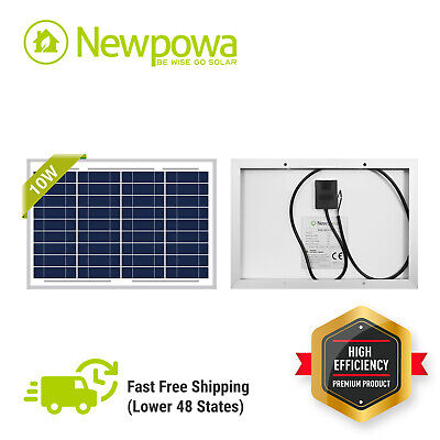 NewPowa 10W Watt 12V Poly Solar Panel Module Marine Off Grid W/3ft wire