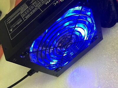 NEW 750W 750 WATT Gaming Quiet Blue LED Fan PSU SATA ATX Power Supply PCIe