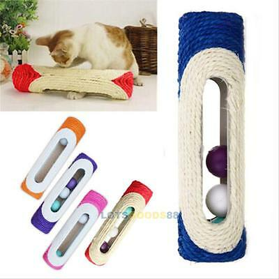 Pet Cat Kitten Toy Rolling Sisal Scratching Post 3 Trapped Ball Training Toys LS