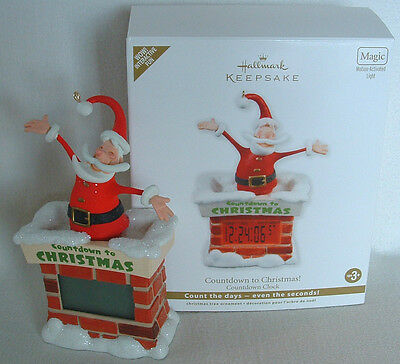 Countdown To Christmas Clock.Santa Countdown To Christmas Clock Chimney Hallmark Magic Motion Ornament Battry