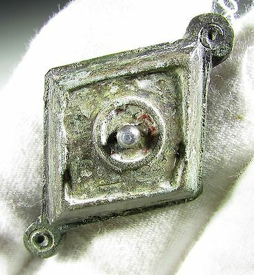 BEAUTIFUL ROMAN BRONZE LOZENGE SHAPED PLATE BROOCH / FIBULA- c. 300 AD EF37