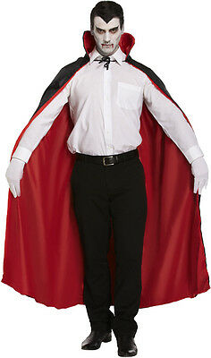 Mens Adult Halloween Long Black Reversible Cape Fits One Size - Dracula Vampire