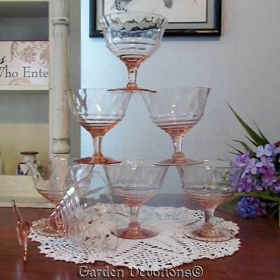 Pretty! 7 PINK DEPRESSION GLASS FOOTED SUNDAE DISHES Icecream Bowl