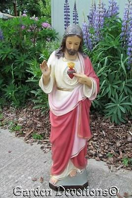 """25"""" SACRED HEART OF JESUS STATUE Glass Eyes PLASTER / CHALKWARE **IMPORTED**"""
