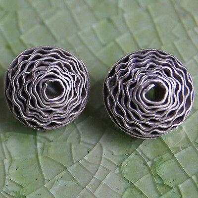 Handmade Two Beads Karen Hill Tribe  Pure Silver  Size = 0.8 mm.