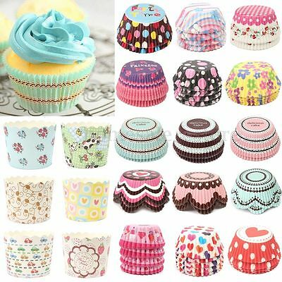 50/100x Xmas Paper Cake Cup Liner Cupcake Cases Baking Muffin Dessert For Party