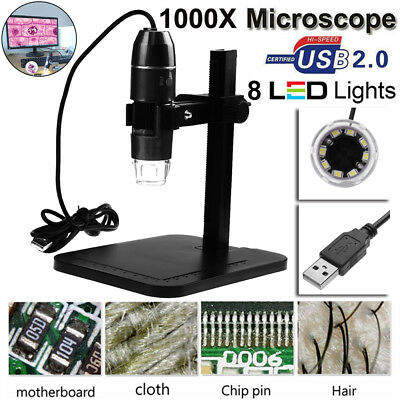 8 LEDs 2MP 500x USB Digital Microscope Video Webcam Magnifier Camera Stand Loupe