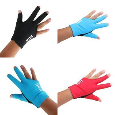 Spandex Pro Players Snooker Billiard Cue Gloves Left Hand Three Finger 3 Colors