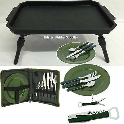 New Plastic Fishing Bivvy Bait Table Coarse Carp + NGT Picnic Day Cutlery Set