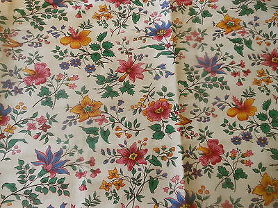 Vintage French Cottage Floral Cotton Fabric ~Yellow Gold Cobalt Blue Pink Green