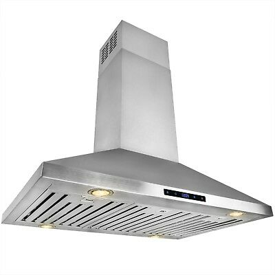 """36"""" Stainless Steel Island Mount Range Hood Touch Screen Kitchen Cooking"""