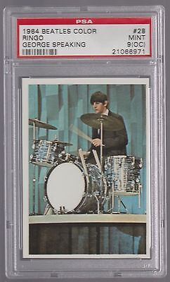 1964 The Beatles Color Ringo Starr W/ George Speaking Card #28 Psa 9 (Oc) Mint
