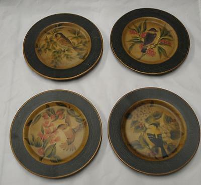 """Decor Set of 4 Plates Birds Finch Wren Aged Look NEW Vintage Style 8"""" 654"""