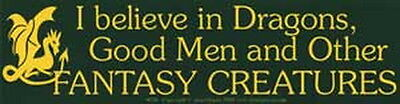 BUMPER STICKER: I BELIEVE IN DRAGONS, GOOD MEN AND OTHER  Wicca Witch Pagan Goth