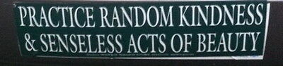 BUMPER STICKER: PRACTICE RANDOM KINDNESS & SENSELESS ACTS Wicca Witch Pagan Goth
