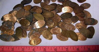 ** Lot of ONE HUNDRED (100) -- ELONGATED CENTS - PENNIES - mixed subjects **