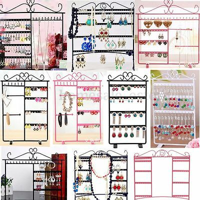 Earrings Ear Studs Necklace Jewelry Display Rack Metal Stand Holder Organizer