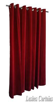 "Burgundy 72"" Long Velvet Curtain Panel w/Metal Grommet Top Eyelets Window Drapes"