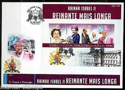 Sao Tome  2015 Queen Elizabeth Longest British Monarch Sheet First Day Cover