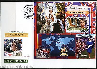 Maldives 2015 Queen Elizabeth Longest British Monarch S/s  First Day Cover