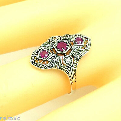 Ring with Ruby & Topaz 925 Silver Antique Style Sterling Silver