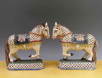 Antique Superb Pair of Dutch Delft Sculptures Reflecting Horses 19TH Marked Poly