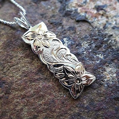 Rose Gold Sterling Silver Hawaiian Plumeria Scroll Vertical Tag Pendant #sp11005