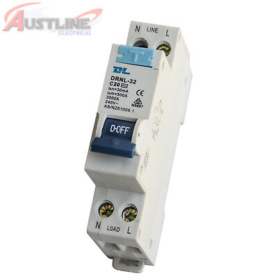 RCD / MCB Safety Switch Circuit Breaker RCBO 1 Pole +N 3KA 20A
