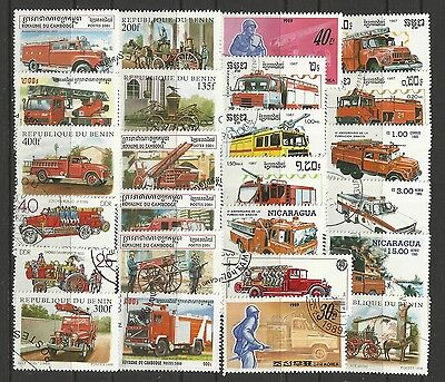 FIRE ENGINES Collection Packet of 25 Different WORLD FIRE FIGHTING Stamps