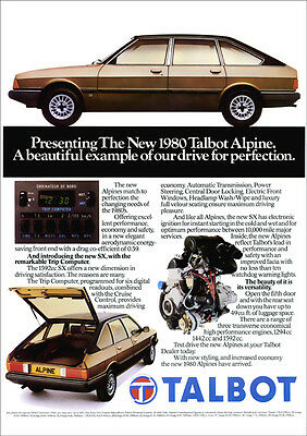 TALBOT ALPINE RETRO A3 POSTER PRINT FROM CLASSIC 80's ADVERT