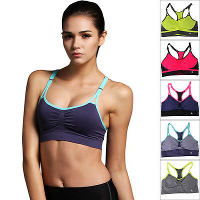 2016 Women Girl Yoga Running Gym Patchwork Push Up Tops Adjustable Sports Bra